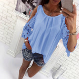 Bigsweety Ladies Blouse Fashion Womens Off Shoulder Tops Blouse Shirts Summer Hot Hollow Out Sleeve Shirt Boho Tunic Tops - Creative Dreamscape