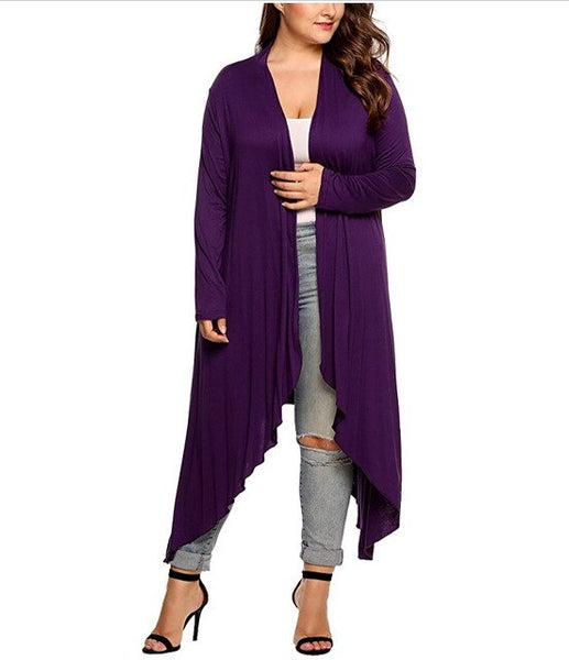 Women Cardigan Jacket Plus Size Autumn Open Stitch Solid Draped Lady Large Long Large Sweater Big Oversized XL-5XL - Creative Dreamscape