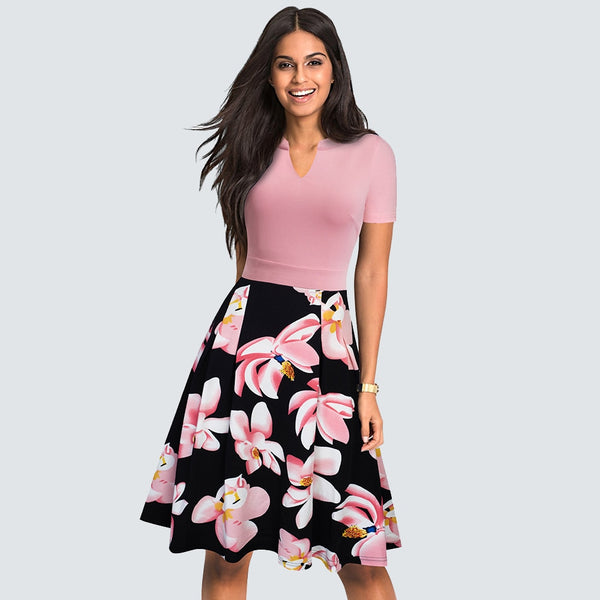 Elegant Women Floral Print Short Sleeve Work Office Business Dress Casual Summer Swing A-line Dress HA036 - Creative Dreamscape