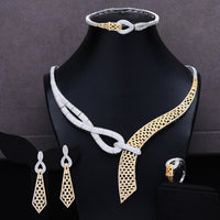 GODKI 4PCS Luxury African Jewelry Set For Women Wedding Bridesmaid Jewelry Sets 2020 Necklace Earring Bracelet Ring Party Sets - Creative Dreamscape