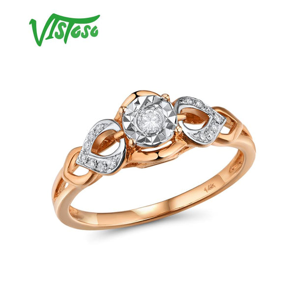 VISTOSO Gold Rings For Women Genuine 14K 585 Rose Gold Ring Sparkling Diamond Promise Engagement Rings Anniversary Fine Jewelry - Creative Dreamscape