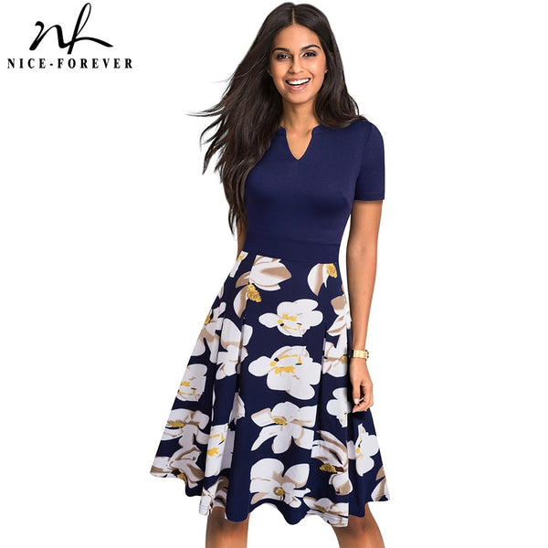 Nice-forever Stylish Elegant Floral Printed Women vestidos Casual Short Sleeve A-Line Summer Flare Dress A036 - Creative Dreamscape