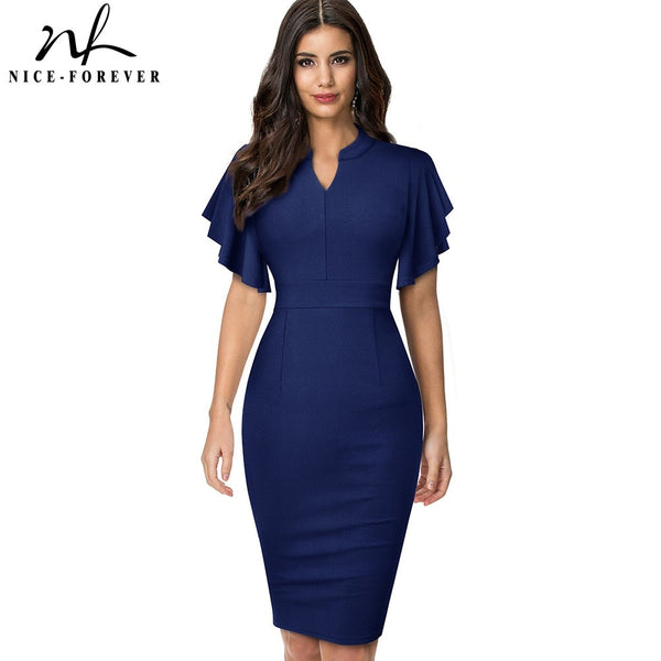 Nice-forever Vintage Solid Color Elegant Office Work vestidos Business Party Bodycon Ruffle Women Pencil Dress B572 - Creative Dreamscape