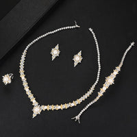 LARRAURI Famous Brand 2019 Charms Luxury 4PCS CZ Pearl Jewelry Sets For Women Wedding Cubic Zircon Crystal CZ Indian Bridal Sets - Creative Dreamscape