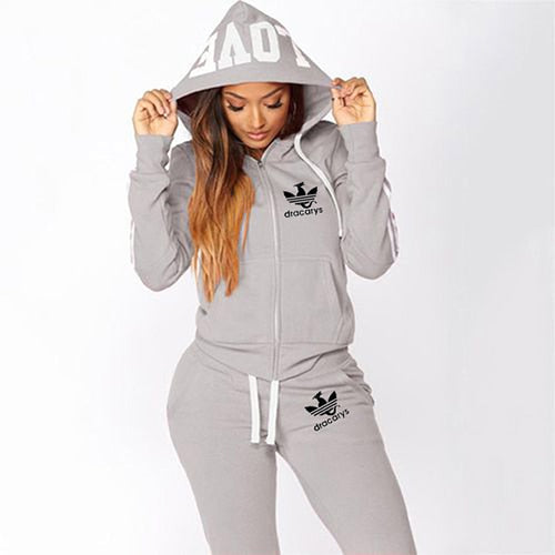 2020 Tracksuit Women Set Harajuku Clothes Letter Love Hooded Sweatshirt Zipper Hoodie Pants Two Piece Set Ensemble Femme Suits - Creative Dreamscape