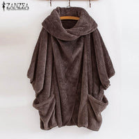 ZANZEA 2020 Winter Warm Fluffy Jackets Women's Coats Sleeve Female Button Outwear Poncho Autumn Cardigan Plus Size Tops - Creative Dreamscape