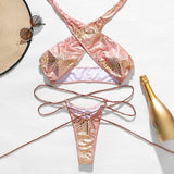 Sexy bandage bathing suit women swimwear 2020 New hollow out bikini set High cut woman swimsuit female two piece shiny biquinis - Creative Dreamscape