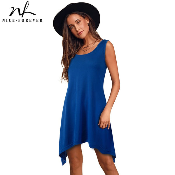 Nice-forever Casual Pure Color with irregular hem Dresses Loose Women Shift Summer Dress 413 - Creative Dreamscape