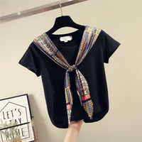 Silk Scarves Stitching Lace-up Cotton Short Sleeve T-shirt Tshirt Women 2020 Spring Summer New Loose T-shirts Female Tee Tops - Creative Dreamscape