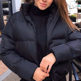 Winter Thicken Women's Short Parkas Coat Solid Stand Collar Warm Parka Female Cotton Padded 2020 Fashion Puffer Jacket For Women - Creative Dreamscape
