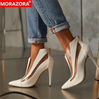 MORAZORA 2020 big size 48 ankle boots for women shoes pointed toe zip sexy thin high heel boots fashion summer shoes ladies - Creative Dreamscape