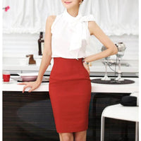 Nice-forever Elegant Solid Color Pencil Skirt Office Work Bodycon Vintage Stretchy Women Skirts - Creative Dreamscape