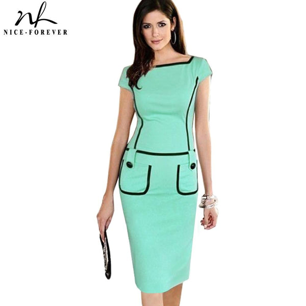 Nice-forever Summer Elegant Pure Color with Button Vintage Bodycon Office Work Bodycon Women Dress bty789 - Creative Dreamscape