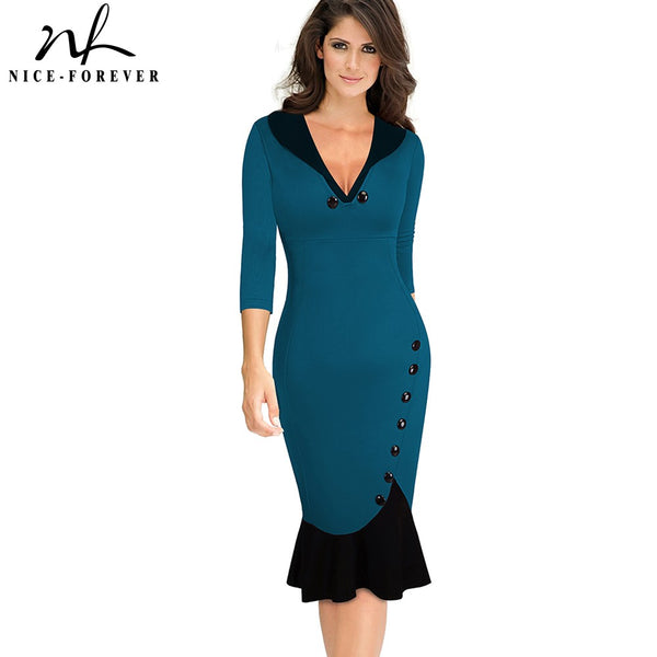 Nice-forever Vintage Contrast Color Patchwork Elegant Mermaid Dresses Business Formal work Bodycon Wiggle Women Dress Gb27 - Creative Dreamscape