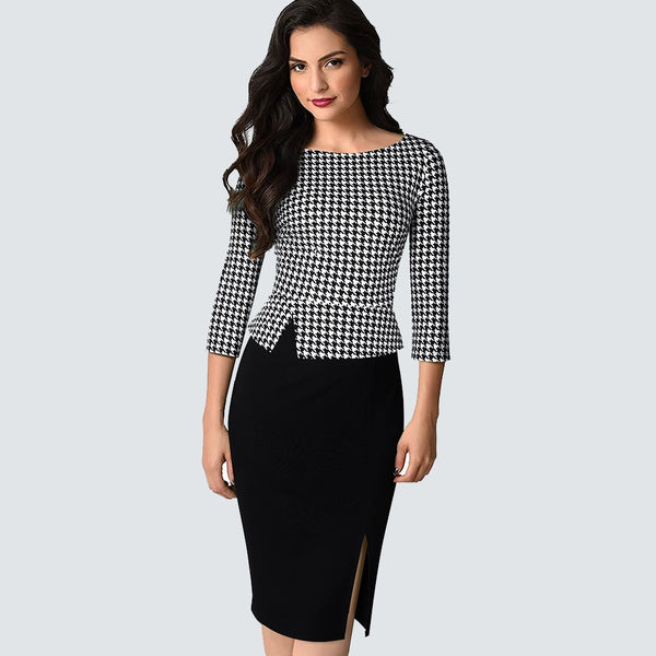Autumn Elegant Houndstooth Patchwork Business dress Retro Work daily bodycon dress HB562 - Creative Dreamscape