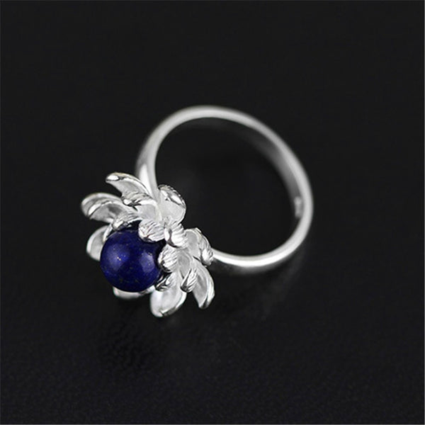 Natural Blue Lapis Handmade Blooming Lotus Flower Rings - Creative Dreamscape