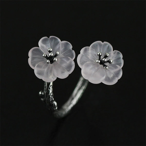 Natural Crystal Handmade Creative Designer Flower in the Rain Rings - Creative Dreamscape
