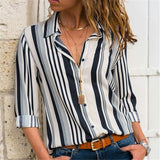 Blouses Women 2020 Leisure Long Sleeve Striped Shirt Turn Down Collar Lady Office Shirt Autumn Blouse Top Blusas Mujer Plus Size - Creative Dreamscape