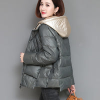 Short Parkas Women Patchwork Hooded Simple Solid Pockets Simple Womens Casual Korean Style Females Daily All-match Winter Chic - Creative Dreamscape