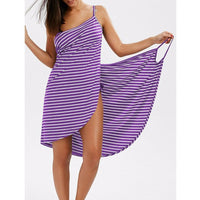Women Stripe Sling Backless Swimwear Scarf Beach Cover Up Wrap Sarong Maxi Dress - Creative Dreamscape