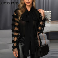 Scarf Neck Long Sleeve Blouse Womens Tops and Blouses - Creative Dreamscape