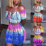 2019 Sexy Women 2 Piece Set Off Shoulder Crop Top and Skirt Bodycon Outfits Summer Slim Party Club Clothing - Creative Dreamscape