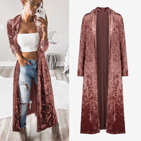 Women's Autumn Velvet Long Kimono Cardigan Velour Long Sleeve Solid Outwear Tops 2020 Spring Fashion Coat Female Casual Cardigan - Creative Dreamscape