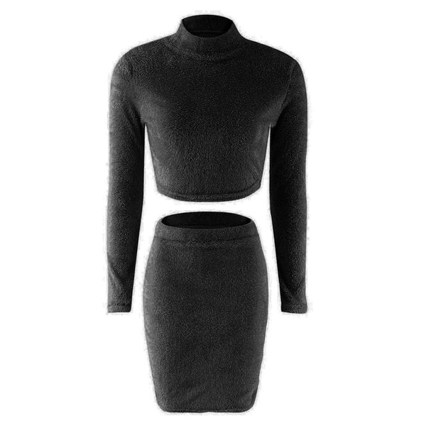 Two Piece Set Women Sweater +Pencil Skirt Suit Long sleeve Fleece Crop Tops Bodycon Skirt 2 Pieces Set Women Knitted Tracksuit - Creative Dreamscape
