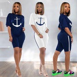 2020 Summer New Women's 2 Pieces Shorts Sets Boat Anchor Print T-shirt + Biker Shorts Outfits Elastic High Rise Shorts Suits Set - Creative Dreamscape