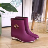 Elegant Short Women Rubber Boots Ankle Rain Boots Fall Autumn Rain Day Waterproof Woman Shoes - Creative Dreamscape
