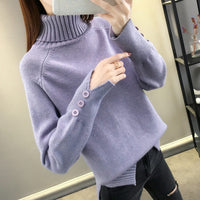 NEW Autumn and winter 2019 new Korean color matching Pullover long sleeve half high collar with bottomed sweater women's - Creative Dreamscape