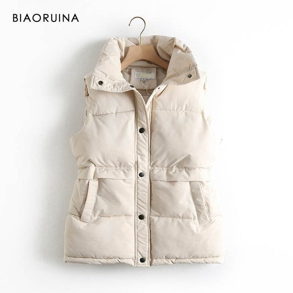 BIAORUINA Women's Korean Style Solid Sleeveless Winter Keep Warm Winter Vest Coat Single Women Breasted Loose Thick Fashion Vest - Creative Dreamscape