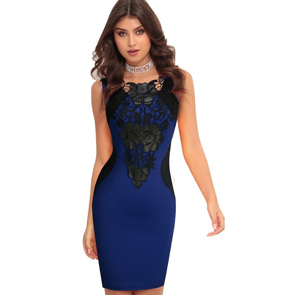 Nice-forever Color Block Black Lace Patchwork Above Knee Dresses Bodycon Sexy Club Bodycon Slim Sheath Women dress bty786 - Creative Dreamscape