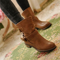 Women winter boots Motorcycle superstar buckle boots women shoes 2020 fashion classic pu leather winter women boots ladies shoes - Creative Dreamscape