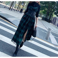 Cosmicchic Autumn Winter 2019 Fake Two Pieces Gothic Long Dress Bow Scarf Collar Green Black Plaid Vintage Maxi Party Dresses - Creative Dreamscape