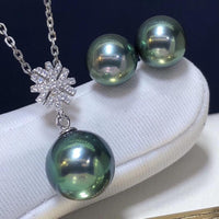 D302 Fine Jewelry 18K White Gold Natural Fresh Water Peacock Green Pearl 7-9mm Female's Jewelry Sets for Women FIne Jewelry Sets - Creative Dreamscape