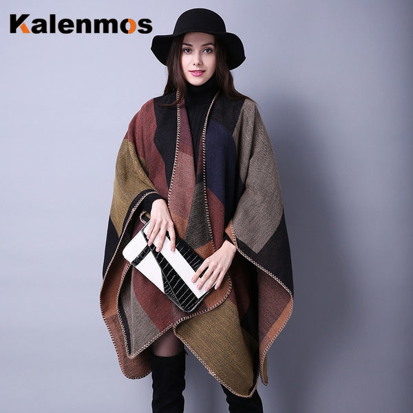 Blanket Scarf Fall Winter Thick Wrap Poncho Women Plaid Travel Shawl Imitation Cashmere Capes National Wind Fork Thicker Cloak - Creative Dreamscape