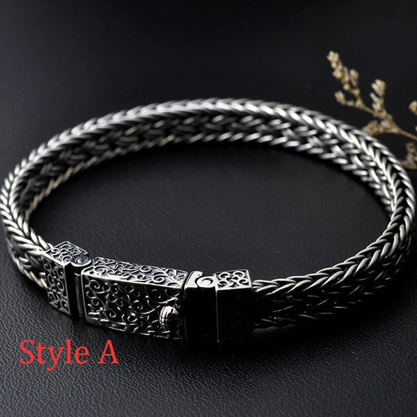 Pure S925 Sterling Silver Bracelets Width 8mm Classic Wire-cable Link Chain Thai Silver Bracelets for Women Men Jewelry Gifts - Creative Dreamscape