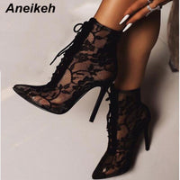 Black Mesh Women's Boots Fashion Pointed Toe Lace-up High Heels Women Transparent Ankle Boots Female Sandals Pumps Dress - Creative Dreamscape