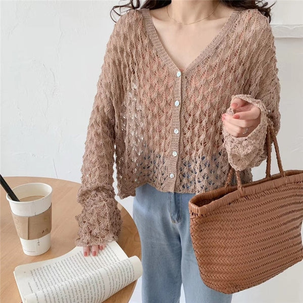 Alien Kitty Korea Fresh Hollow Out Cardigans Casual Simple Free Thin Lazy Style Ice Silk Loose Knitted Short Sweaters 4 Types - Creative Dreamscape