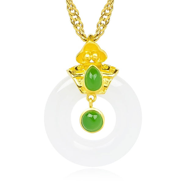 Jewelry Gold Plated White Kunlun Jade Buckle Hollow Elegant Gold Pendant Necklace - Creative Dreamscape