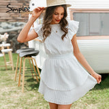 Simplee Elegant crew neck ruffle boho dress women High waist sleeveless sexy lace dress female Casual white ladies mini dress - Creative Dreamscape