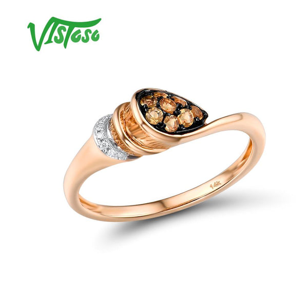 VISTOSO Pure 14K 585 Rose Gold Ring For Women Ring shining Diamond Charming Citrine Wedding Engagement Elegant Fine Jewelry - Creative Dreamscape