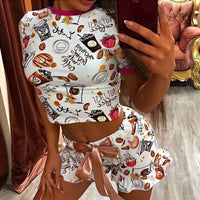 OMSJ 2020 New Women Funny Sleepwear Party Suit Summer Casual Crop Top And Shorts Sets Female Two Piece Outfits Fashion Tracksuit - Creative Dreamscape