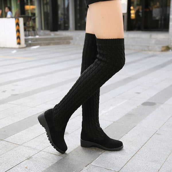 Autumn Winter Thigh High Boots For Woman Shoes Knitting Wool Long Boot Women Brown/Black Boot Ladies Shoes - Creative Dreamscape