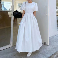 2020 new arrivals temperanment dress femme o-neck puff sleeve maxi dresses elegant lady vestidos party robe - Creative Dreamscape