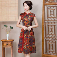 Sexy Womens AO Dai short Cheongsam 2019 Summer Vintage Chinese style Rayon Knee Length Qipao Fashion Slim Party Dress Vestido - Creative Dreamscape