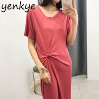 Summer Dress Women Vintage Solid Color Knotted T Shirt Dress Female Round Neck Short Sleeve Asymmetric Midi Casual Dress - Creative Dreamscape