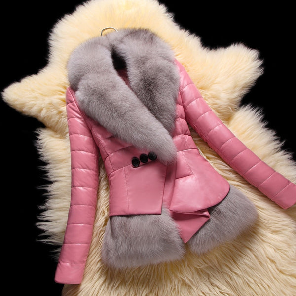 2020 100% Real Sheepskin Coat Female Winter Natural Fox Fur Pink Duck Down Jacket Women Korean Genuine Leather Jacket Coats 1928 - Creative Dreamscape