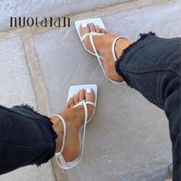 Summer Women Sandals Narrow Band Vintage Square Toe High Heels Buckle Strap High Heel Sandals Women V-neck Designer Shoes Women - Creative Dreamscape